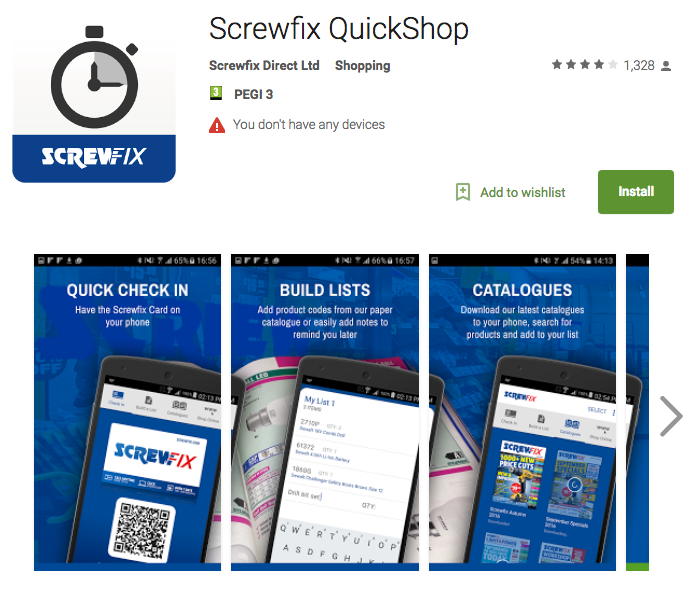 Screwfix quickshop app