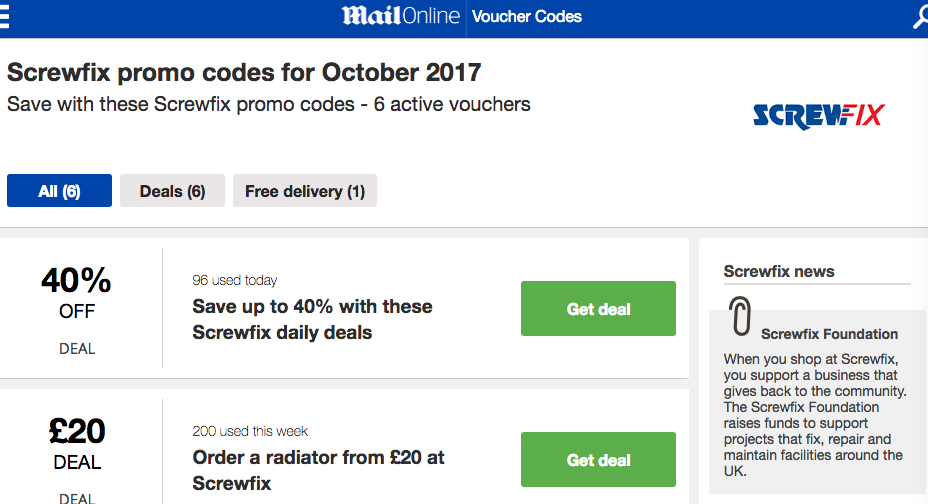 Dailymail.discountcode.co.uk for Screwfix.