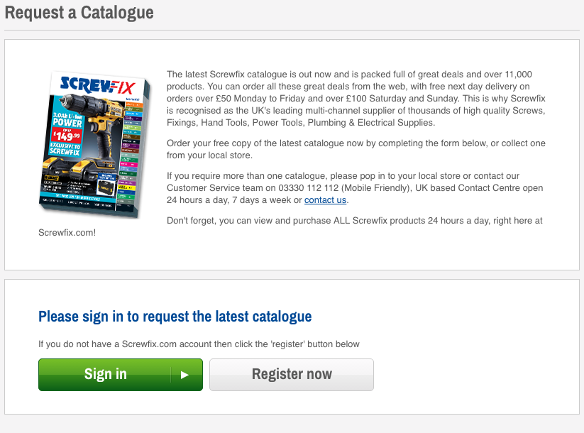 Request a Screwfix catalogue