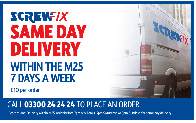 screwfix same day delivery within the m25