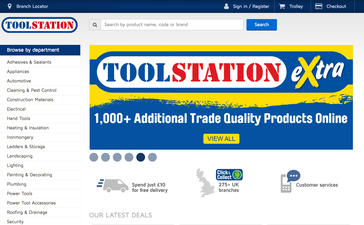 toolstation website screenshot