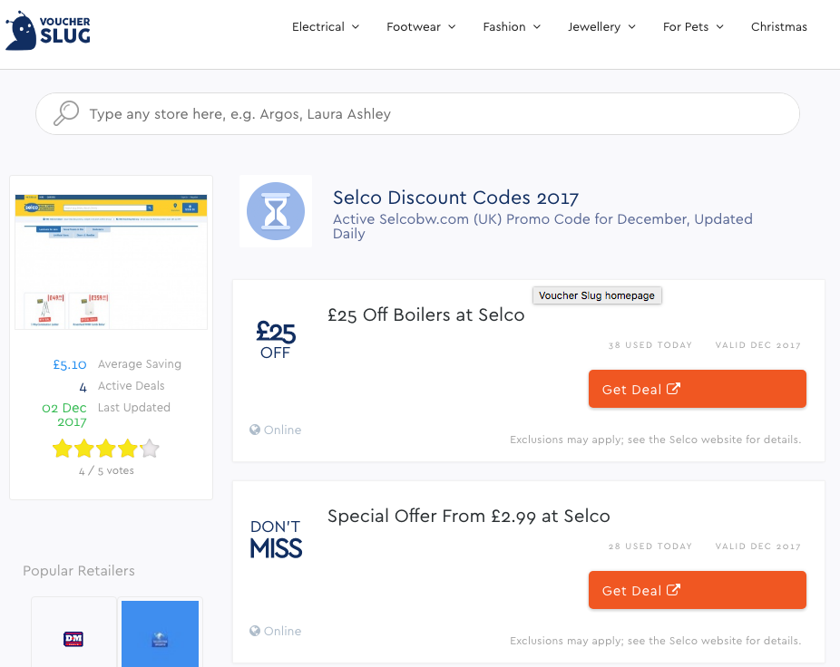 Voucherslug listing Selco discounts