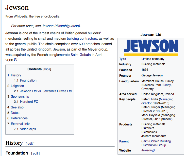 Jewson on Wikipedia