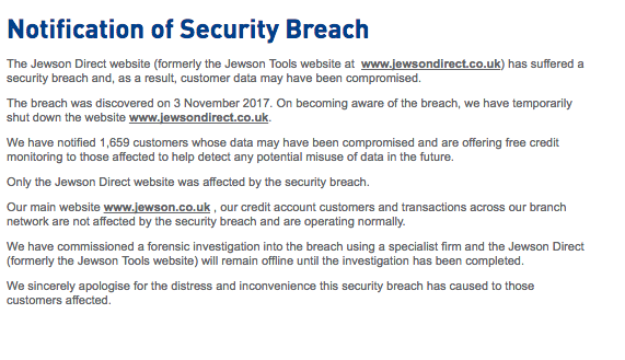 Jewsondirect.co.uk security breach