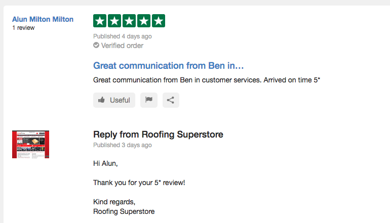 A positive review of the online Roofing Superstore experience