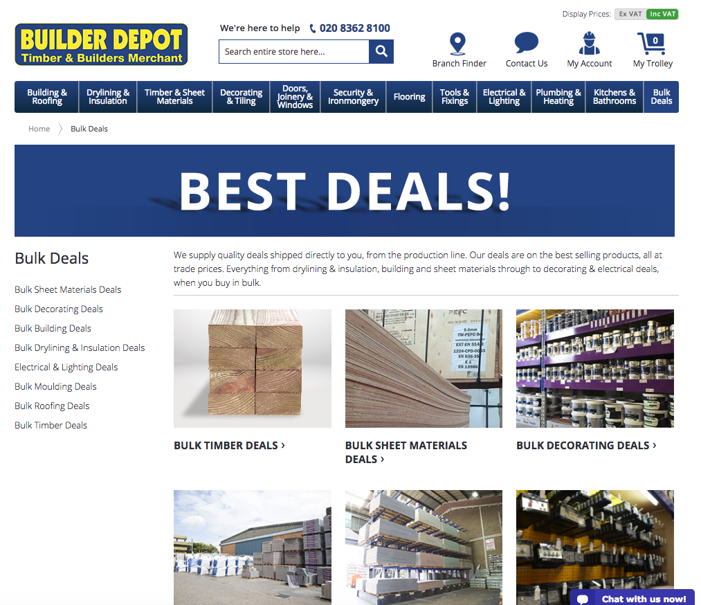 builder depot bulk deals