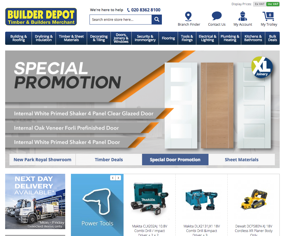 Builder Depot website at a glance