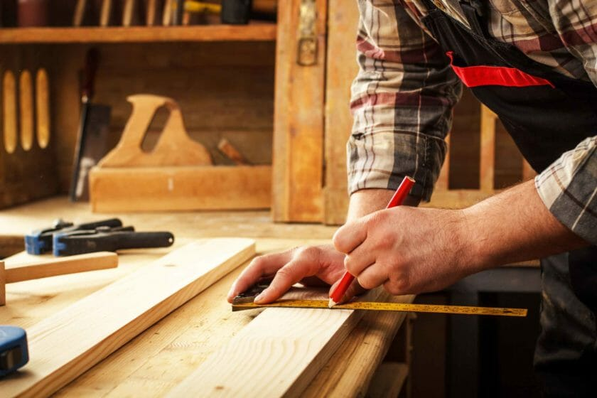 self employed carpenter working in a workshop