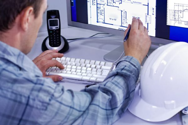 computer aided designer using computer to design plan