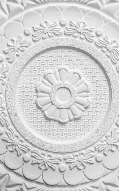 artexed plaster ceiling rose in white
