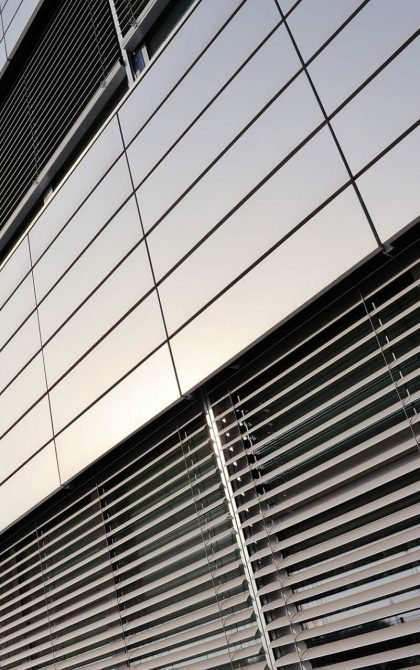 commercial building covered in cladding
