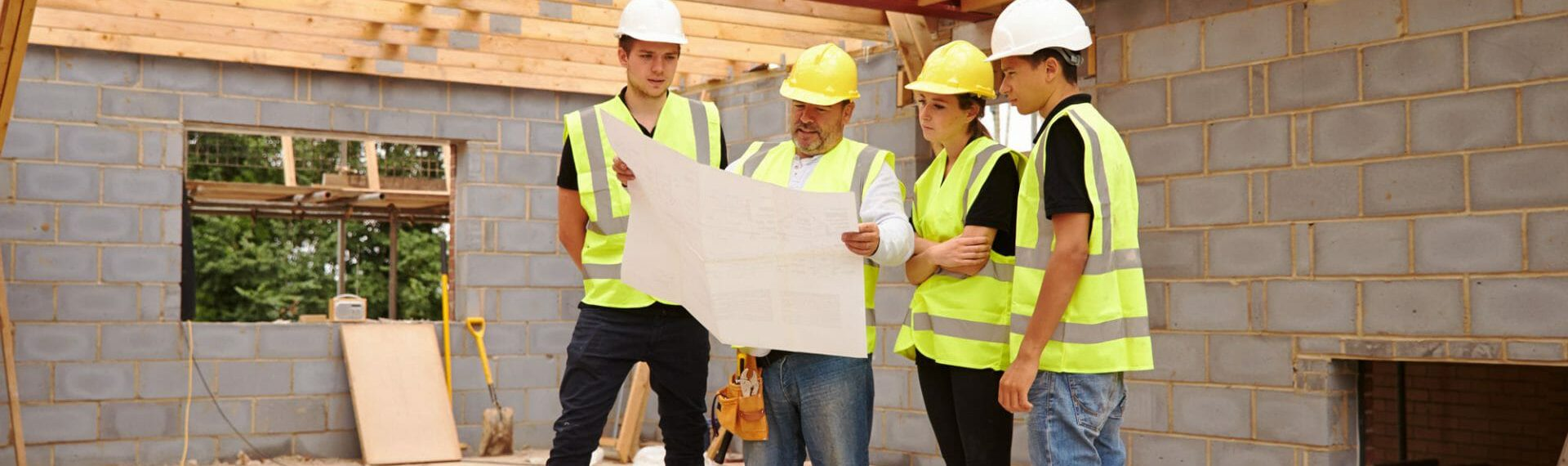 group of construction workers on site
