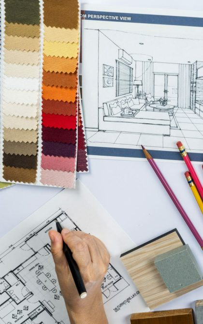 colour swatches and plans of an interior designer