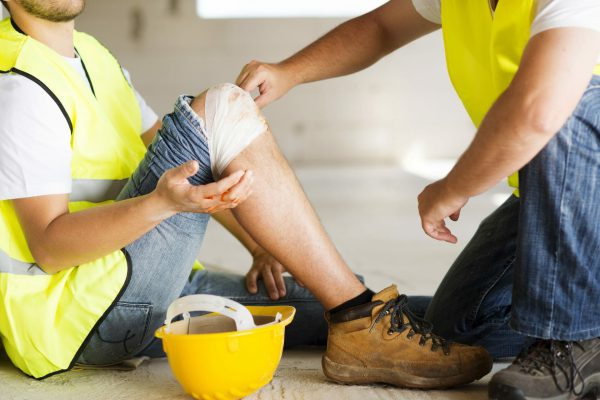 employee with cut knee injured at work