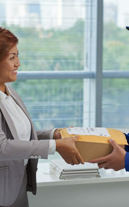 courier delivering parcel to customer