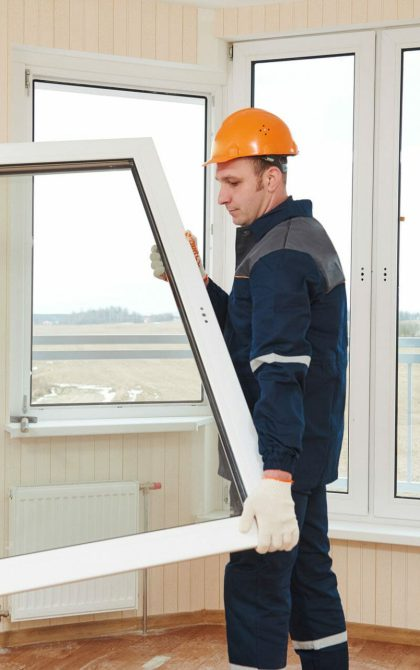 double glazing installers fitting white window